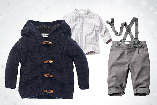 Babymode Winter 2014: Outfit mit Cardigan für Babyjungs
