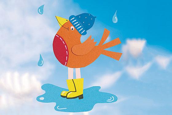 Fensterbild vogel im regen f r einen fr hlichen herbst - Filigrane fensterbilder herbst ...