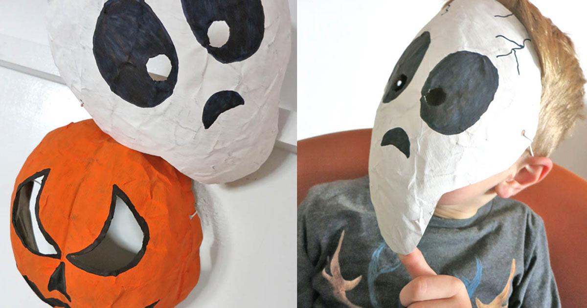 gruselige masken aus pappmaschee basteln. Black Bedroom Furniture Sets. Home Design Ideas