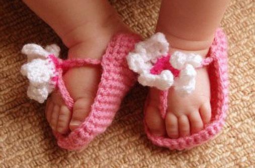 Baby flip flops stricken