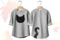 Babymode Herbst 2015: Graues Kleid mit Kätzchen