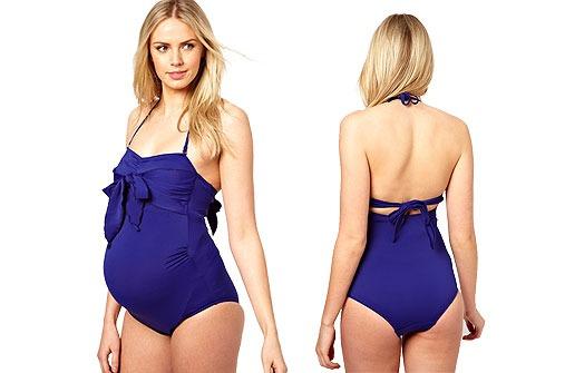 Blauer Badeanzug exklusiv mit Schleife