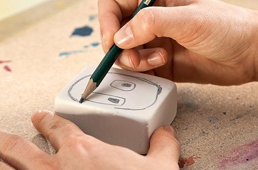 Im ersten Schritt wird die Vorlage für denStempeldruck gezeichnet.