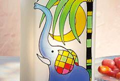 Glasmalerei: Vorlagen für Elefantenmotiv