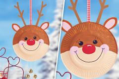 Pappteller-Rentier für Weihnachten