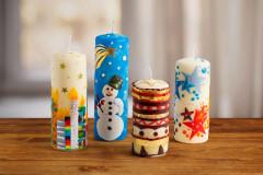 Kerzen weihnachtlich verzieren