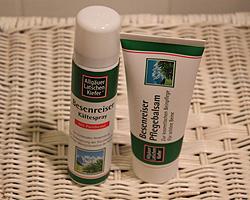 Pflegebalsam und Kältespray von Allgäuer Latschenkiefer