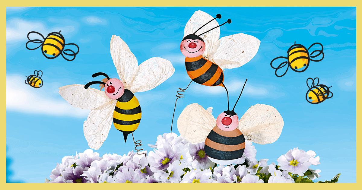 Blumenstecker basteln: Hummel, Biene & Wespe - Familie.de