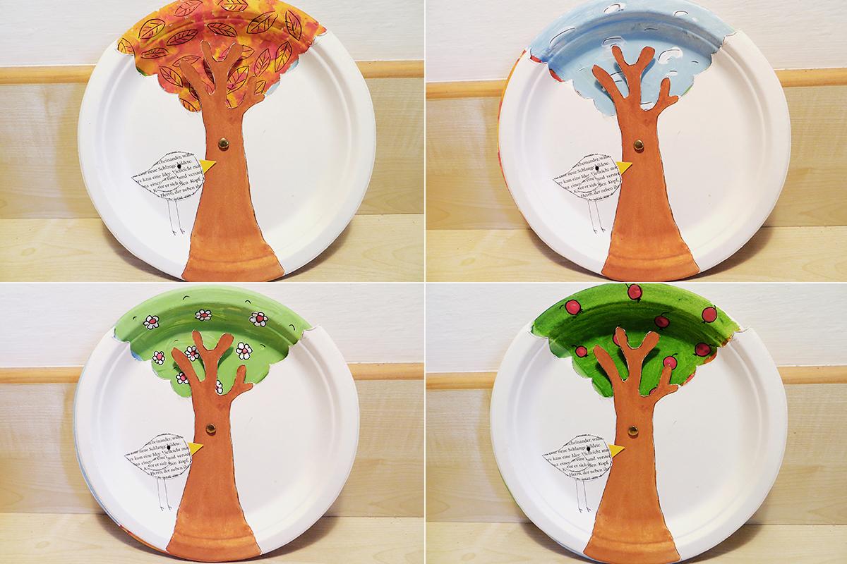Jahreszeiten Pappteller: Collage