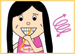 KAI: Dann die Außenseite der Zähne putzen.