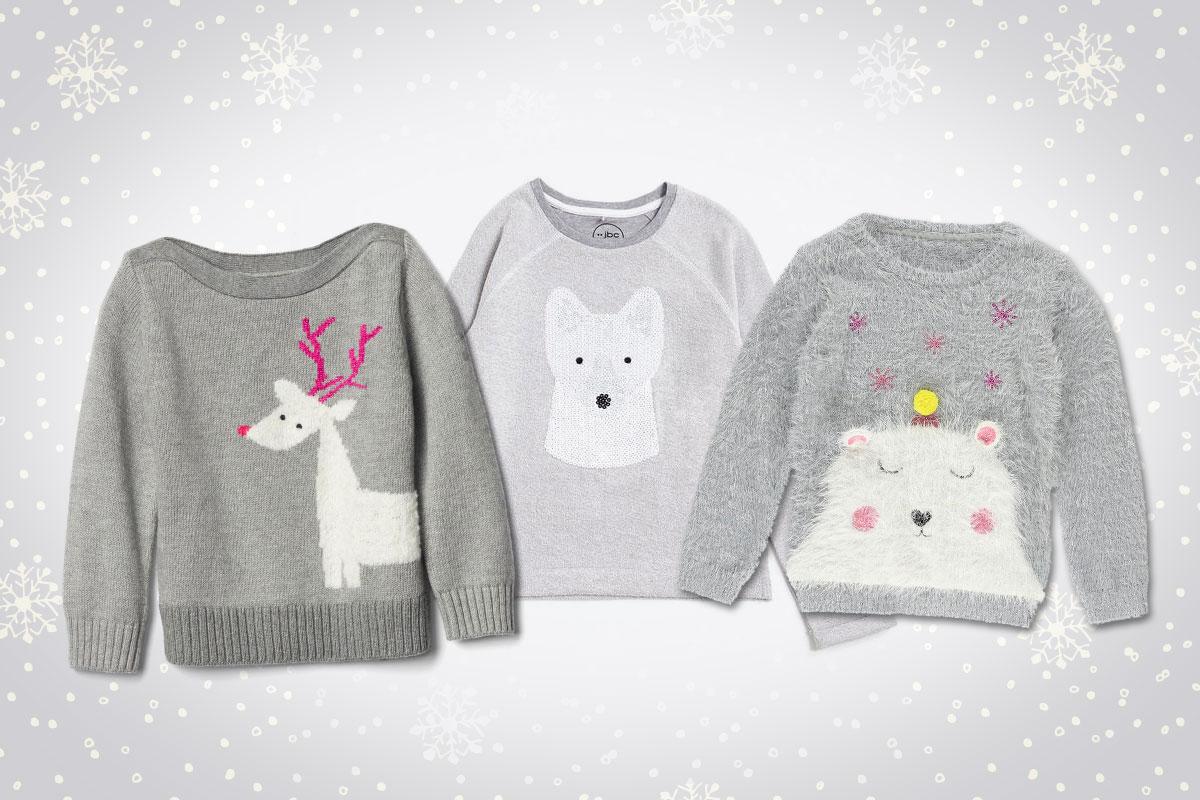 Kindermode für den Winter: Grau Pullover
