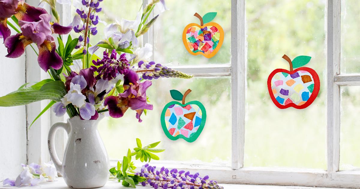"""Fensterbild """"Leuchtende Äpfel"""" basteln - Familie.de"""