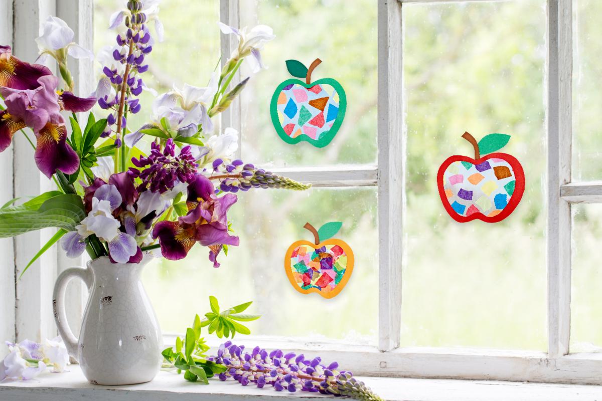 Fensterbild Leuchtende Apfel Basteln Familie De
