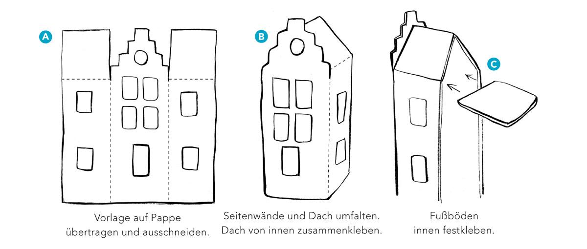 Spielhaus aus Pappe: erste Schritte