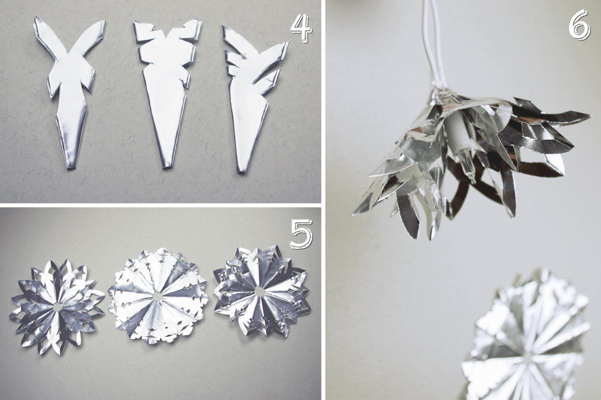 Schneekristalle Lichterkette basteln