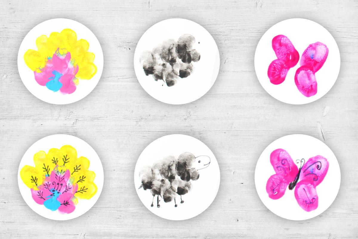 Pfau, Schaf und Schmetterling stempeln