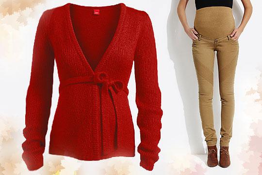 Rote Strickjacke für den Herbst 2014 von Esprit Maternity