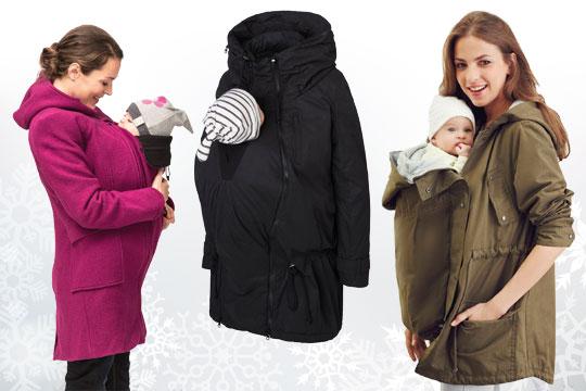 Umstandsmode für den Winter 2016: Mäntel mit Babyeinsatz