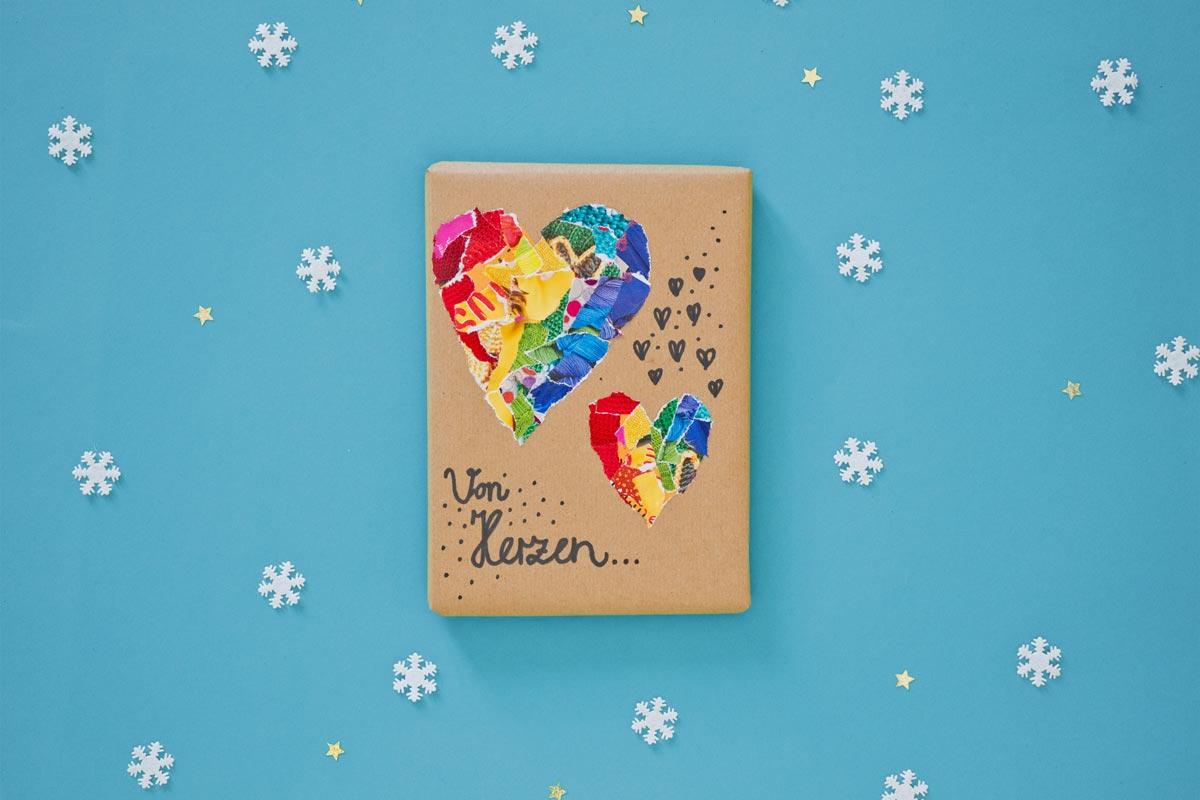 Geschenkverpackungen: Collage Herzen