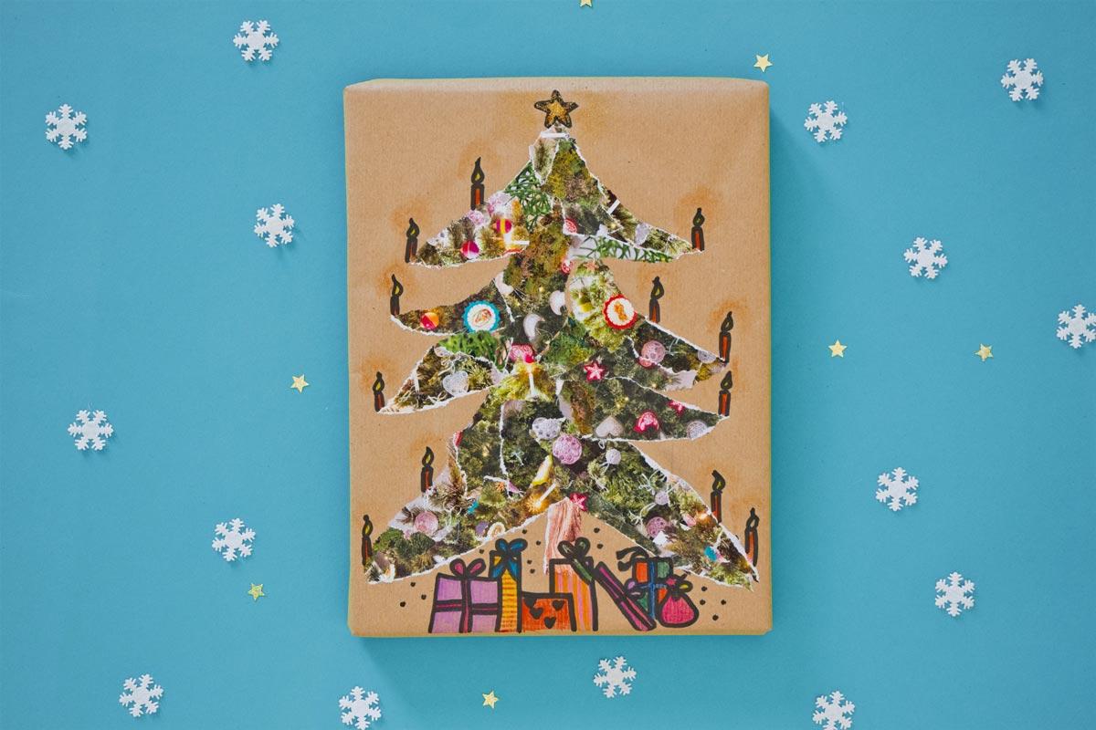 Geschenkverpackungen: Collage Baum