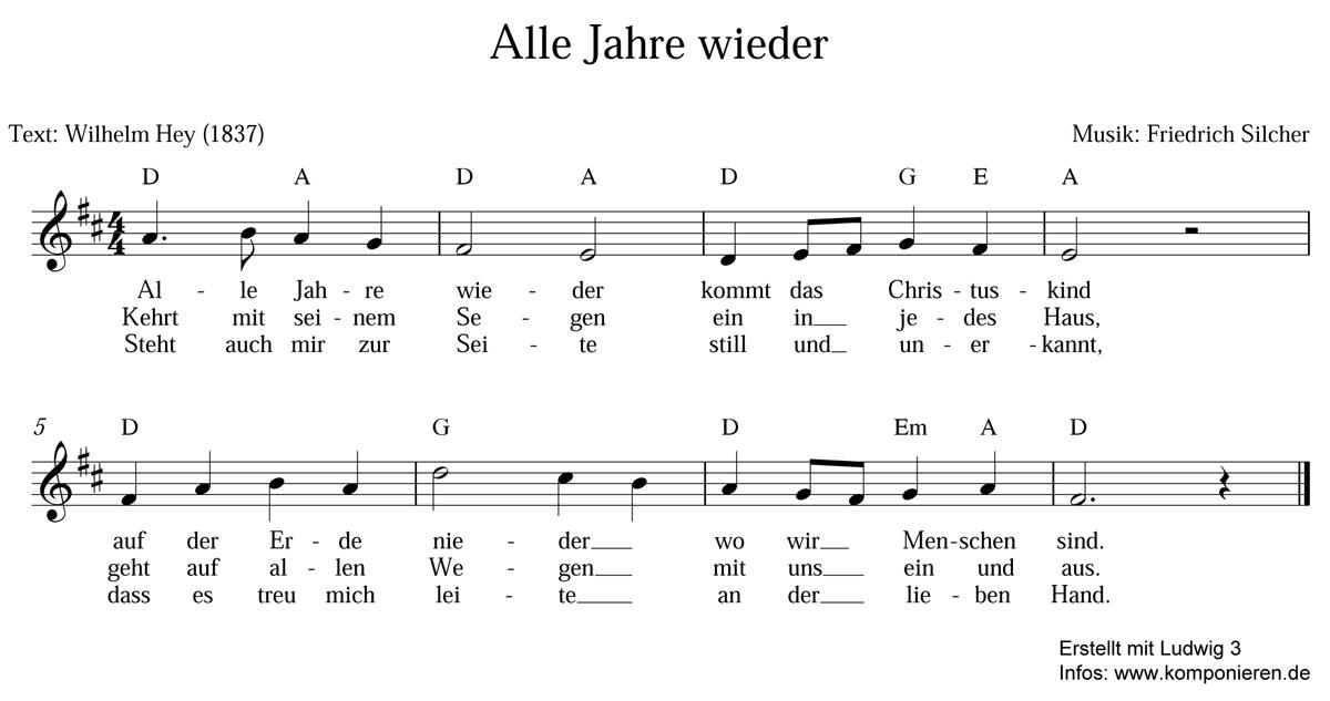 Alle Jahre wieder - Text und Noten zum Download - Familie.de