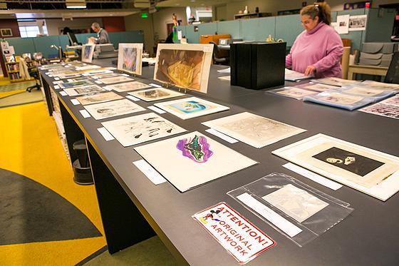 Blick auf original Skiztzen in der Animation Research Library