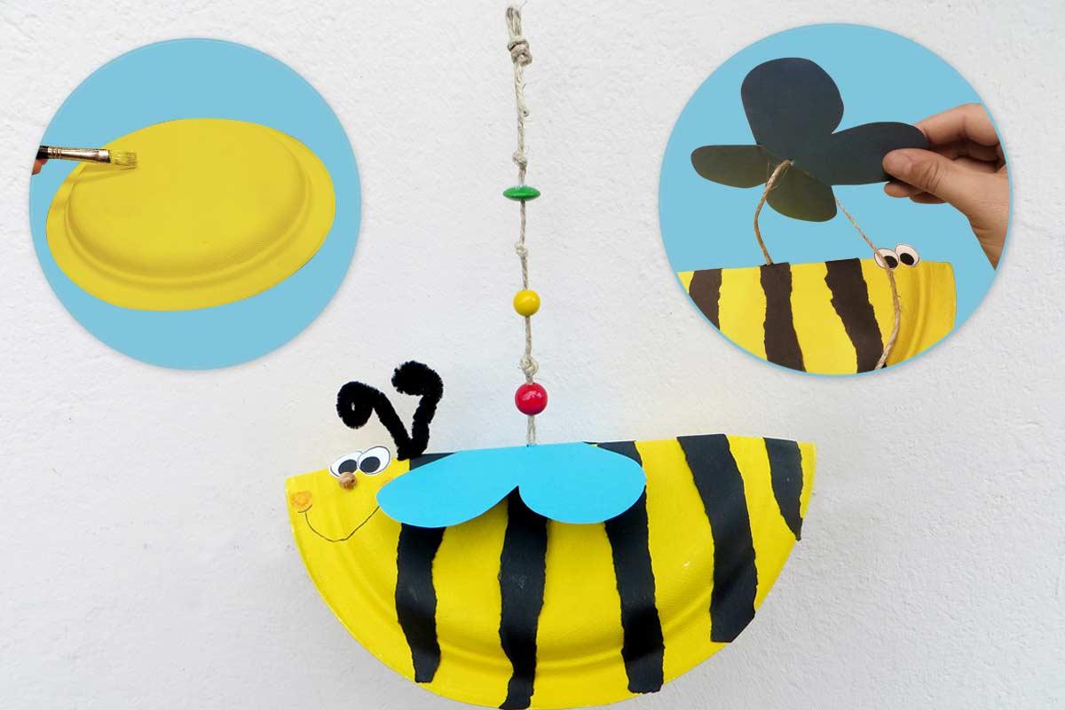 Biene basteln: ganz einfach aus einem Pappteller