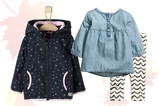 Jeanskleid und Streifenleggings von H&M