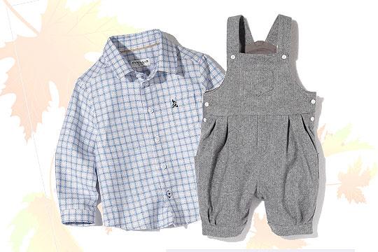 Babymode Herbst 2014: Hemd und graue Latzhose