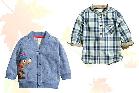 Babymode Herbst 2014: Karohemd und Strickjacke für Jungen