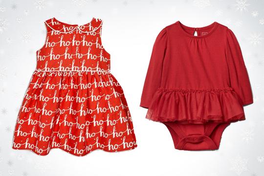 Weihnachtliches Kleid für Baby-Mädchen
