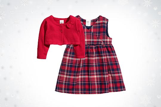 Babymode Winter 2014: Kariertes Kleid und Bolero