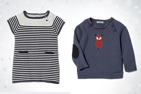 Babymode Winter 2014: Gestreiftes Kleid und Fuchs-Pulli
