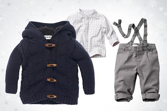 Babymode Winter 2014: Outfit mit Cardigan für Babyjungs