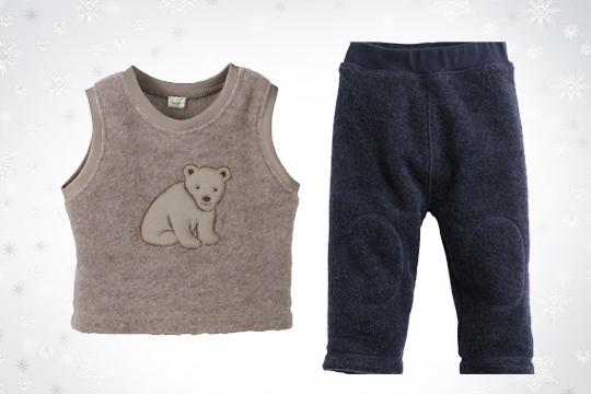 Babymode Winter 2014: Wollfleece-Pullunder und -Hose