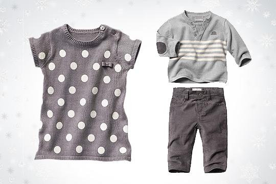 Babymode Winter 2014: Strickkleid und Jungen-Outfit