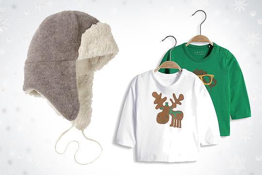 Babymode Winter 2014: Fliegenkappenmütze und Baumwollshirts