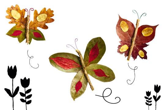Basteln mit Kleinkindern: Schmetterlinge aus Laub
