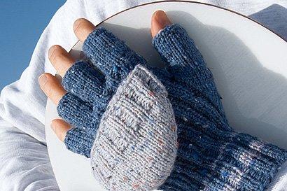 Blaue Handschuhe Stricken Familiede