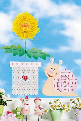 Blumen Fensterbild mit Löwenzahn und Schnecke