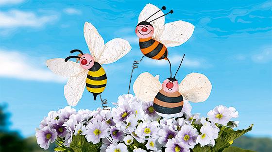 Blumenstecker basteln: Hummel, Biene & Wespe