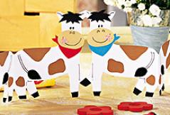 Basteln mit Papier: Fröhliche Kühe