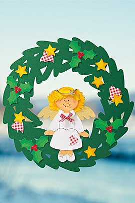 Fesnterbild Engel: ein Türkranz für Weihnachten