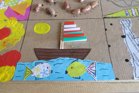 Boot, Meer und Fische auf der Erinnerungsbox