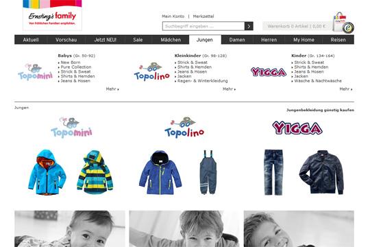 Online-Shops für Baby- und Kindermode: Ernsting's family