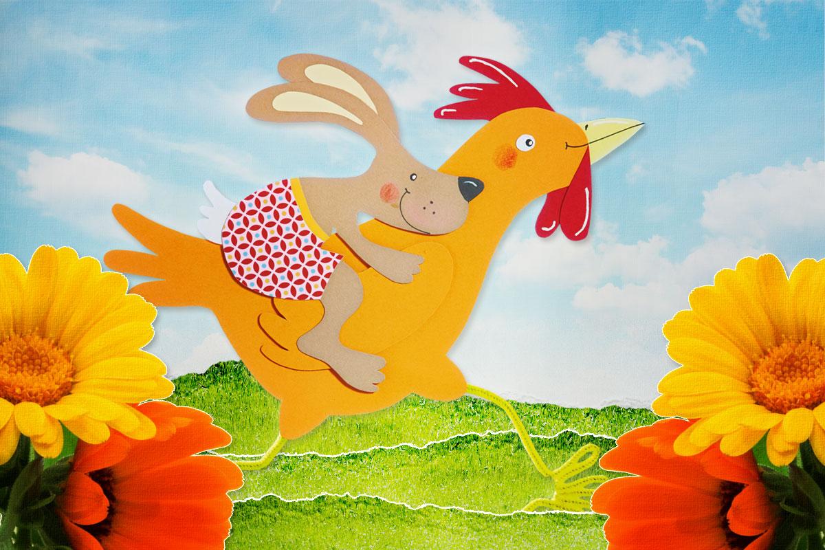 Hase mit Huhn FEnsterbild