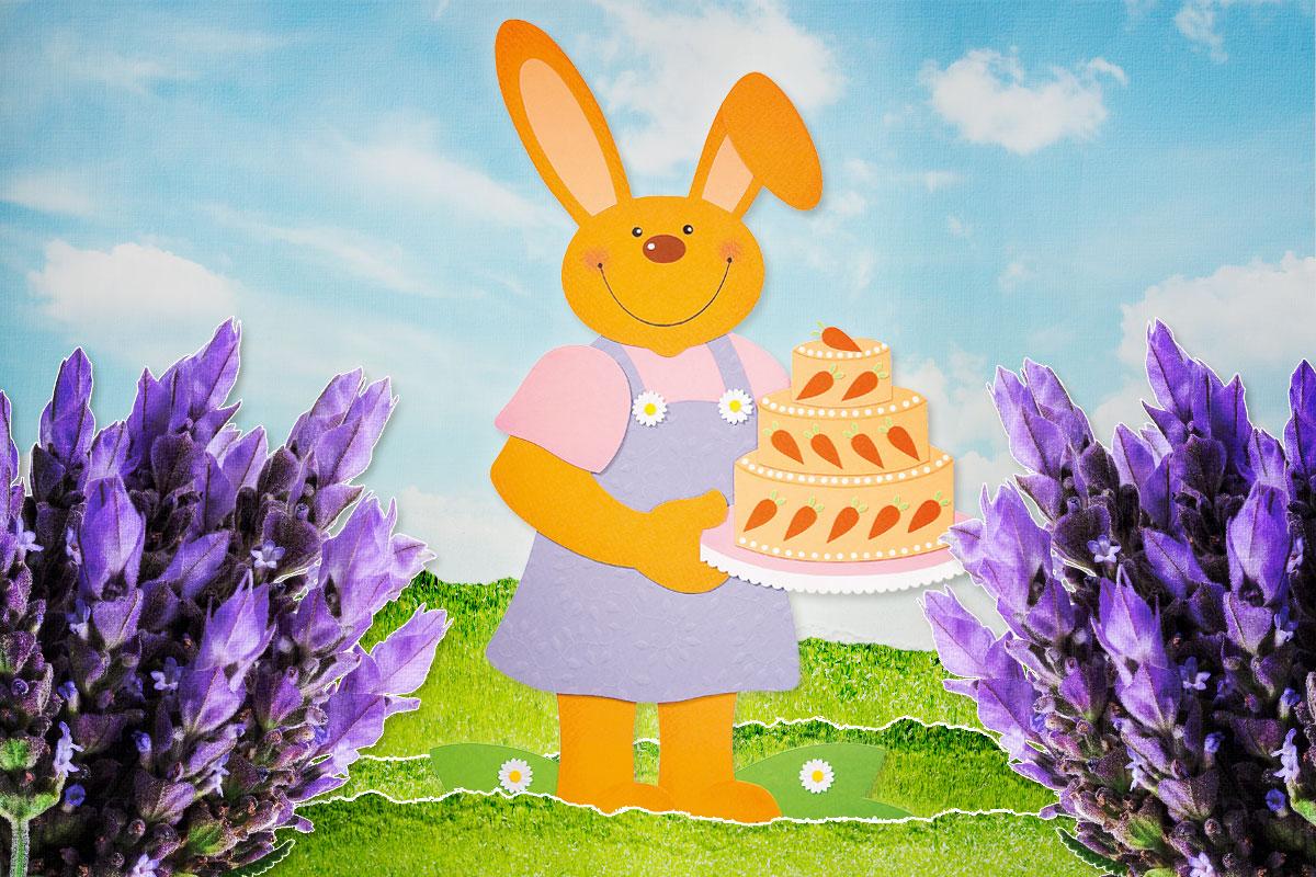Osterhase mit Torte