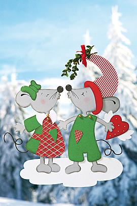 Fensterschmuck Weihnachten: Fensterbild mit verliebeten Mäuschen