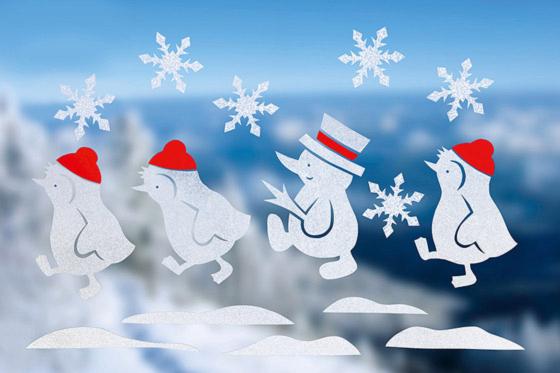 Fenstertatoo: Weihnachtsmotiv mit Pinguinen