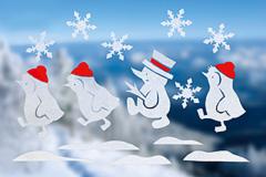 Fenstertatoo mit Pinguinen und Schneemann